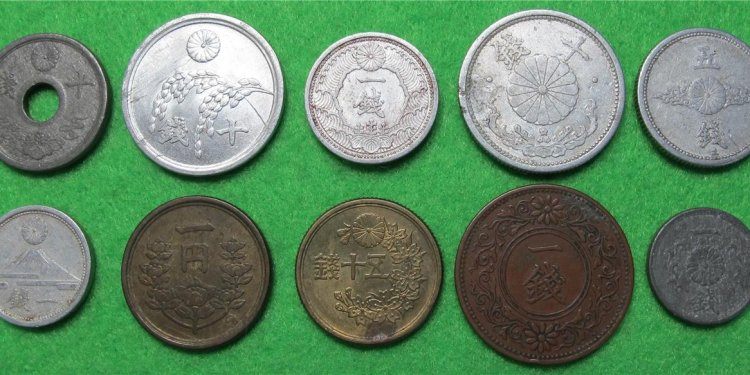 10 ANTIQUE WW2 Japan coins- 1