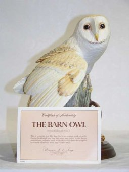 Franklin Mint barn owl figurine