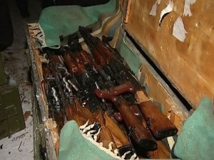 Russian AKM rifles in a crate