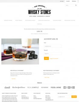 shopify wholesale web design: whisky stones